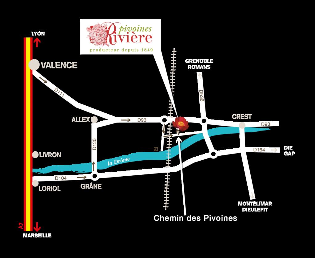 plan acces pivoines riviere